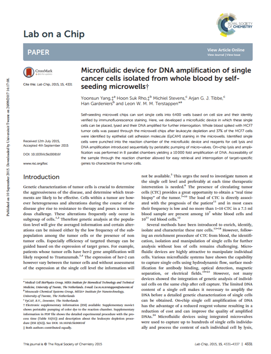 Microfluidic device for DNA amplification of single cancer cells isolated from whole blood by self-seeding microwells