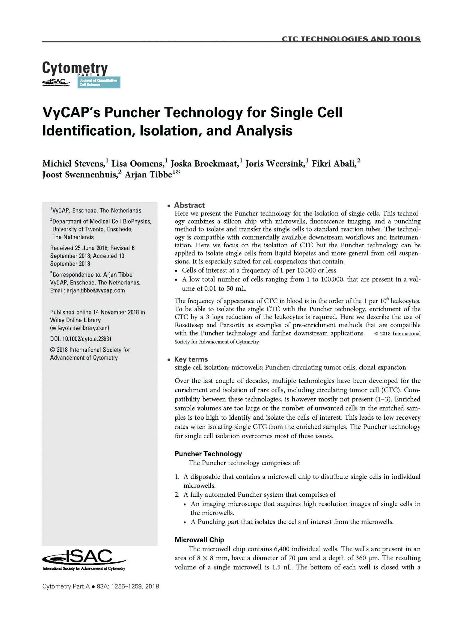 VyCAP's Puncher Technology for Single Cell Identification, Isolation, and Analysis