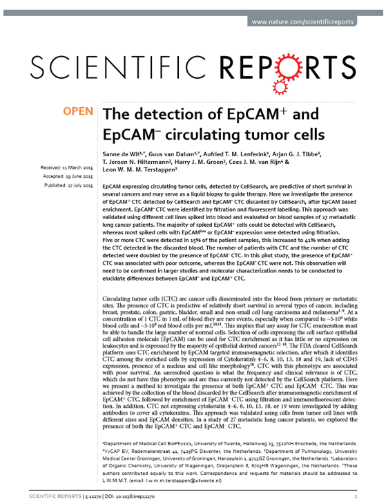 The detection of EpCAM+ and EpCAM– circulating tumor cells